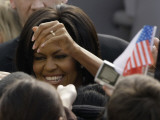 US First Lady Michelle Obama Greets the Crowd after Her Husband's Speech in Prague  Czech Republic