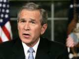 President Bush Delivers a Portion of His Speech for a Second Time for Assembled News Photographers