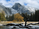 Half Dome is Seen with a Fresh Dusting of Snow in Yosemite National Park  California