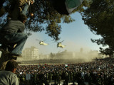 Egyptian Helicopters Carrying Remains of Palestinian Leader Yasser Arafat and Palestinian Leaders