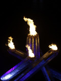 Olympic Cauldron is Seen after the Opening Ceremony for the Vancouver 2010 Olympics