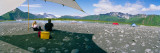 Tourists Sitting at Campsite Near Lake  Bear Glacier Lake  Kenai Fjords National Park  Alaska  USA