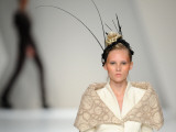 Model Displays a Creation by Portuguese Designer Fatima Lopes During the Portugal Fashion Weekend