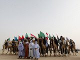 Libyan Camel Riders Holding Flags of Arab Countries Gather to Perform at Sirte Airport
