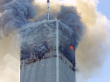 Fire and Smoke Billows from the North Tower of New York&#39;s World Trade Center September 11  2001