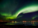 Aurora Borealis in the Sky  Alftanes  Reykjavik  Iceland
