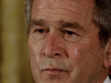 Tears Run Down President Bush's Face  Taking Part in a Medal of Honor Ceremony in the White House