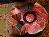 Man Prays at At Sunni Muslim Um Al-Qura Mosque in Baghdad  Iraq
