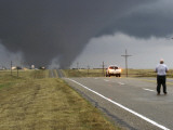 Driver Slows as a Tornado Crosses the Highway in Beaver County  Oklahoma