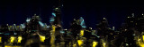 Abstract City Skyline at Night  Chicago  Cook County  Illinois  USA