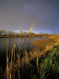 Rainbow over the North Platte River  Nebraska  USA