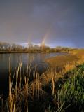 Rainbow over the North Platte River  Nebraska  USA