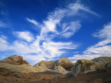 Cirrus Clouds over Rock Formations  Valley of Fire State Park  Nevada  USA