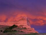 Stormy Light on Scottsbluff National Monument  Nebraska  USA