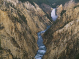 River Flowing Through Canyon  Lower Falls  Yellowstone River  Yellowstone National Park  Wyoming