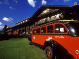 Red Jammer Buses Parked Outside of Glacier Park Lodge  Montana  USA