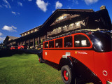 Red Jammer Buses Parked in Front of Glacier Park Lodge in East Glacier  Montana  USA