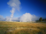 Steam Rising from Old Faithful  Upper Geyser Basin  Yellowstone National Park  Wyoming  USA