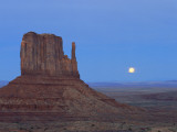 Full Moon Rising Behind Sandstone Bluffs  Arizona/Utah Border  Monument Valley Tribal Park  Navajo