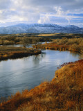 River Flowing Through Landscape  Bear River  Bannock Range  Cache Valley  Great Basin  Idaho