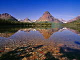 Mountains Reflect into Calm Two Medicine Lake  Glacier National Park  Montana  USA