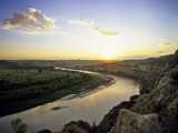Little Missouri River at Sunset in Theodore Roosevelt National Park  North Dakota  USA