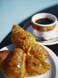 Croissant and Black Coffee on Table  St Martin  Caribbean