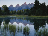 Reflection of Mountains in River  Schwabacher&#39;s Landing  Grand Teton National Park  Wyoming  USA