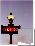 Metro Stop in Paris Against Sunset Sky