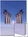 Winged Lions on Columns Above the Clouds