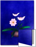 Pink Flower in Vase on Blue Background