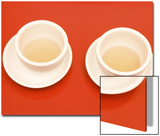 Close-Up of Two Tea Cups on Red Table for Chinese Tea Ceremony