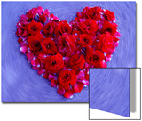 Roses Form Heart Shape on Blue Background