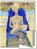 Watercolor Painting of a Woman Lounging on Outdoors on a Beach Chair