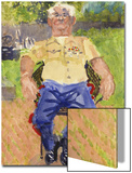 Watercolor Painting of a Man Sitting on a Chair Outdoors