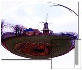 Elliptical Image of Dutch Mill and Farm