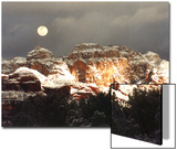 Moon Above Snow-Covered Boynton Canyon  Sedona  Arizona  USA