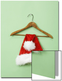 Santa Hat on Wooden Hanger