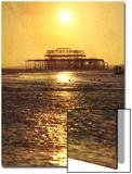 Sun over Ruin of West Pier  Brighton  Sussex  England