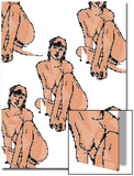 Several Pin-Up Figures as a Patchwork