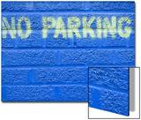 Painted Blue Brick Wall with No Parking Sign
