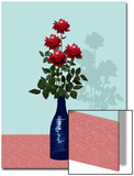 Four Red Roses in Blue Vase