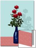 Four Red Roses in Blue Vase