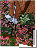 Two Heron Hunt Amongst Flowers