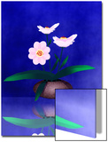 Floral Arrangement of Orchid in Vase Partly Reflected
