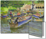 Watercolor Painting of Boats on in the Water at Central Park in New York City