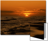 Beach with Sun and Red-Orange Sky