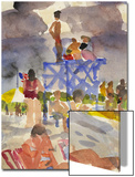 Watercolor Painting of a Beach Scene and Lifeguards