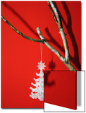 Still Life of a Christmas Tree Ornament Hanging on a Bare Branch