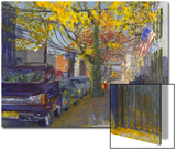 Watercolor Painting of a Neighborhood Street Scene